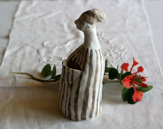 "Porcelain vase 4 : ""Big pocket in her stripy robe""  handmade OOAK sculpture"