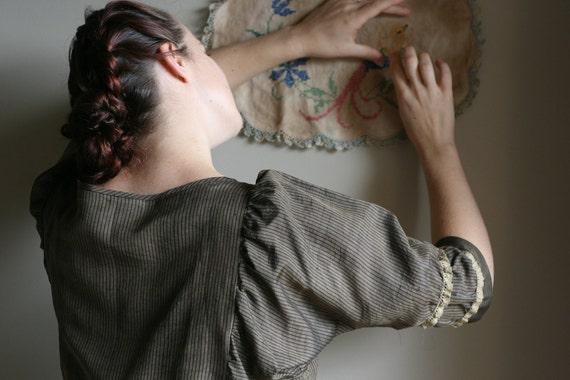 "Silk blouse ""Modest Browns""    vintage Kimono fabric    handmade  Size S-M"
