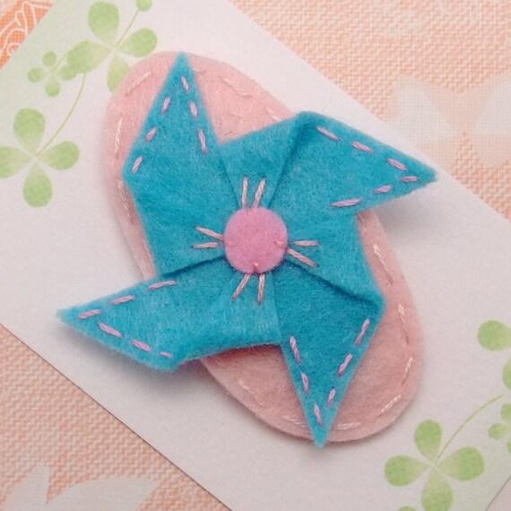 Handmade felt snap hair clip - Pinwheel (FC23-G)