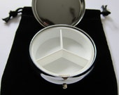 Blank Triple Compartment Pill Box Container w/velvet pouch SALE