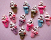 6 pcs Kawaii Ice Cream with Rhinestone Cabochon Flatback