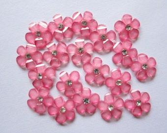 10 pcs Pink Cherry Blossom Glitter Flower Flatbacks Cabochon w/Rhinestones
