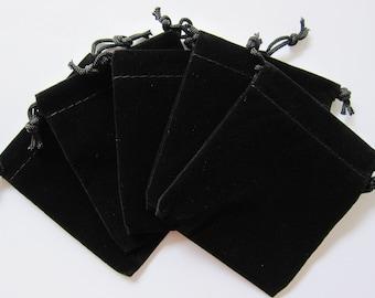 """50 Black Velvet Drawstring Gift Pouches 2.5""""x3.5"""""""