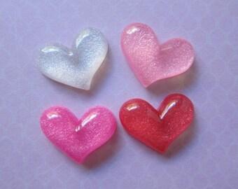 4 Glitter Heart Resin Cabochons Flatbacks