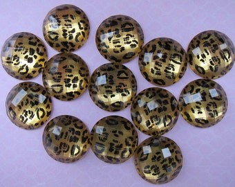 30 pcs Cheetah Jewel Circle Cabochons