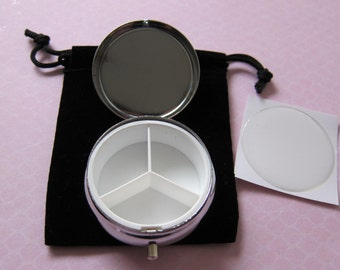 5 Blank Triple Compartment Pill Box Container w/velvet pouches and resin stickers