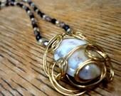 Moonstone Pendant on Black Swarovski Crystal Necklace