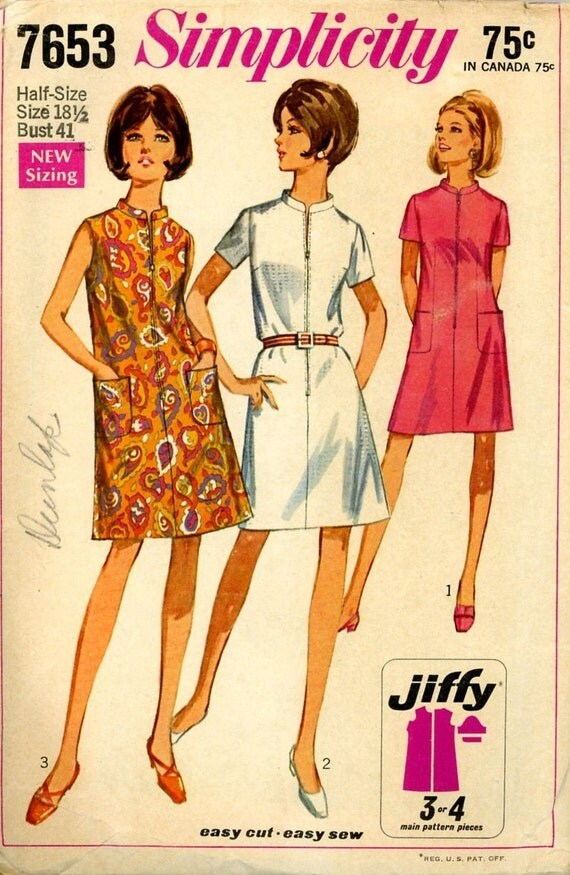 Vintage 1968 Simplicity 7653 Ladies Shift Dress Pattern size - photo#47