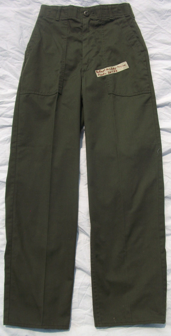 Rare Vintage Perfectly Aged 80s  Military Utility Fatigue polycotton 26 x 28 Green  Pants ( 20 % DISCOUNTED)
