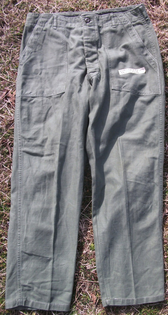 Vintage Unisex Early 70s Cotton Button Fly US Military 35 x 29 Utility Fatigue Pants (20% OFF)