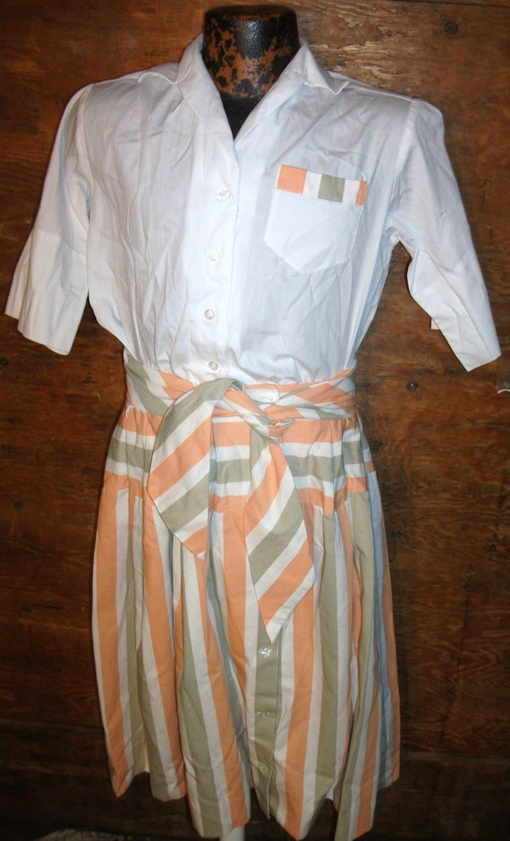 Vintage Modern Suburban Summertime White Blouse, Colorful Striped Skirt and Thick Slash Belt Womens Outfit  ( 50 % DISCOUNTED APPLIED )