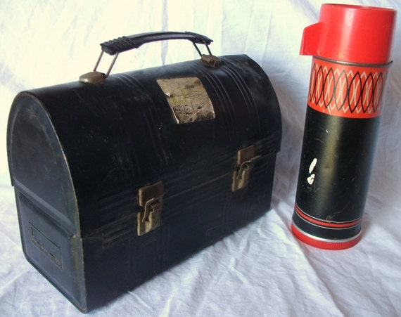 """Antique American Made Worn (50s era) Aladdin Industries Black Metal Lunch Box with 10"""" Thermos Bottle"""
