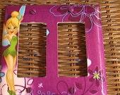 Disney Tinkerbell Double GFI Rocker Light Switch Plate Cover Purple