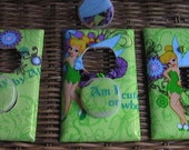Tinkerbell Set Light Switch Plate Toggle Cover and 2 Outlets set includes child safety plugs