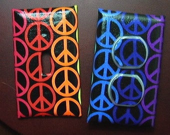 The World Needs Peace Sign Set Light Switch Cover Plate and 1 Outlet includes child safety cover's