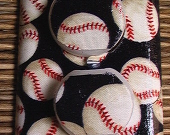 Baseball Outlet Cover Plate with Child Safety Plugs  Light Switch Cover Plates to match in shop