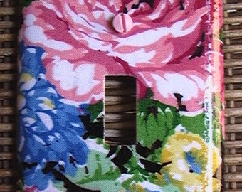 Pink Yellow Blue on Black Flowers Roses Single Toggle Light Switch Cover Plate