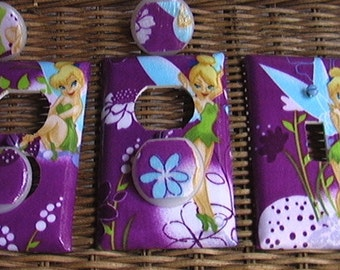 Disney Tinkerbell Set Light Switch Plate Toggle Cover and 2 Outlets Set includes child safety covers