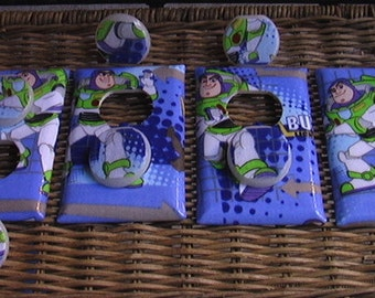 Disney Toy Story Buzz Lightyear Switch Plate and 3 Outlets Set includes child safety plugs