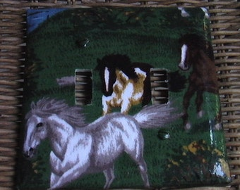 Horses Double Toggle Light Switch Plate Cover