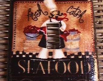 Chef Barista Seafood Veggies Delectable Pasta Single Toggle Light Switch Plate Cover