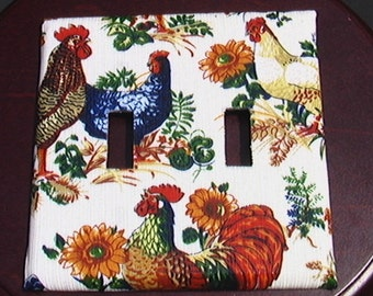 Roosters and Sunflowers Chickens and Eggs Double Toggle Light Switch Plate Cover