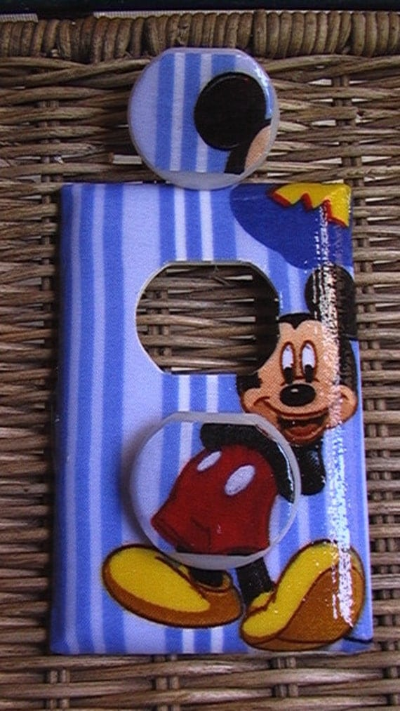 Mickey Mouse Disney Outlet Cover Plate with Child Safety Plugs