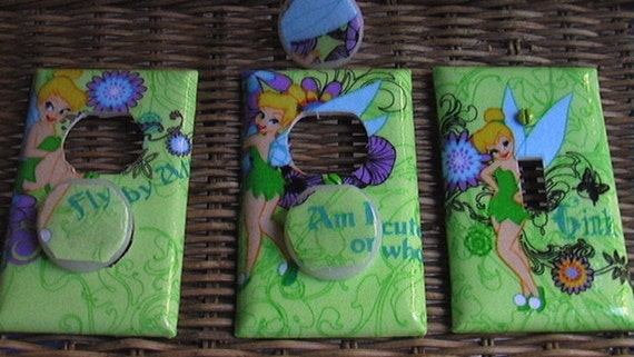 Tinkerbell Set Light Switch Plate Cover and 2 Outlets set includes child safety covers