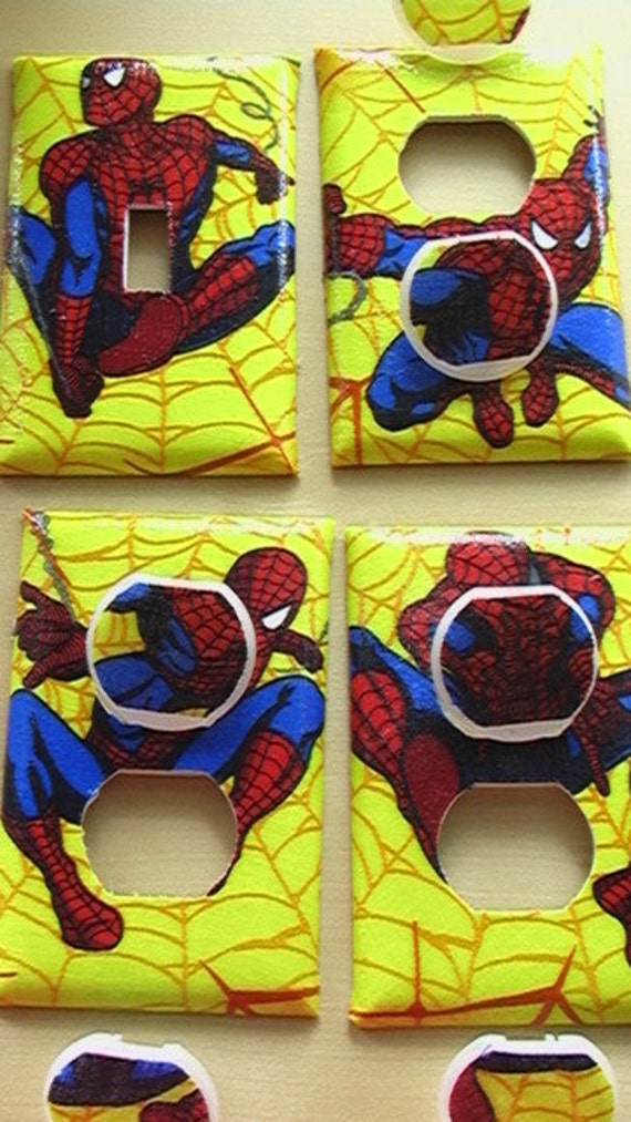 Spiderman Set Single Switch Plate Cover and 3 Outlets Set includes child safety covers