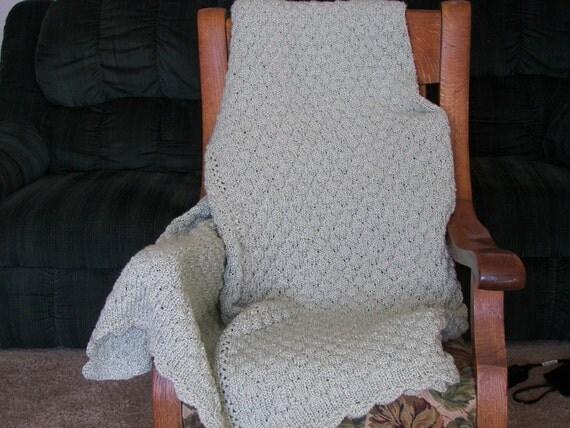 Pistashio Knitted Afghan 60 x 70 machine washable, acrylic blend