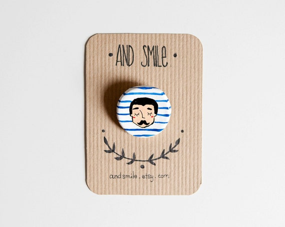 SUMMER SALE Moustache man Brooch