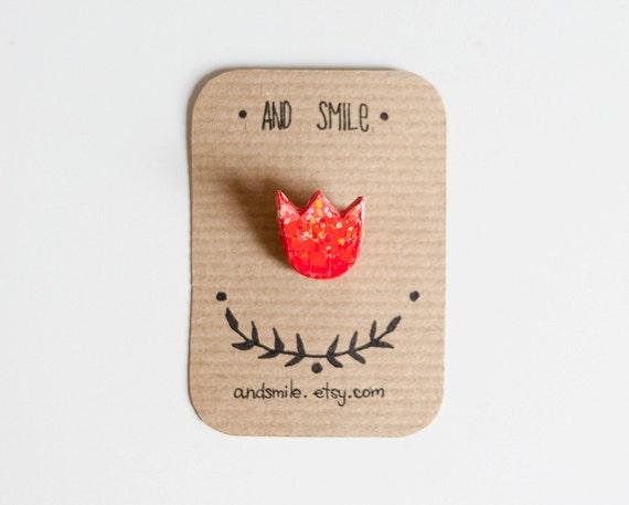 SUMMER SALE Red Flower Brooch