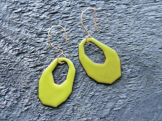 Fragment Enamel Earrings - Chartreuse
