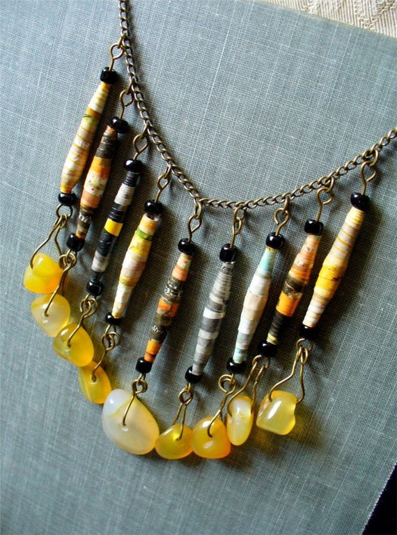 Urban Chic - Gray and Yellow Upcycled Ephemera Paper Bead Necklace