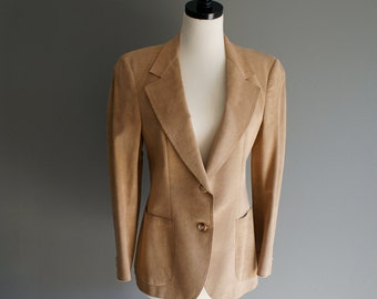 Vintage Sakowitz Suede Leather Camel TAN FITTED Blazer Sports Coat (m)
