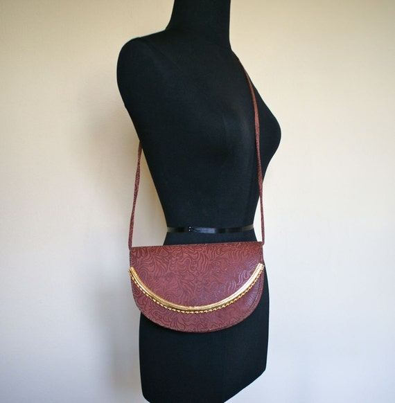 Boho Burnt Orange Sling Bag with Gold Trim