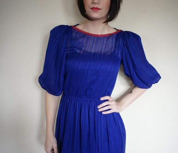 vintage 80s royal purple PUFFY Sleeve Dress (M)