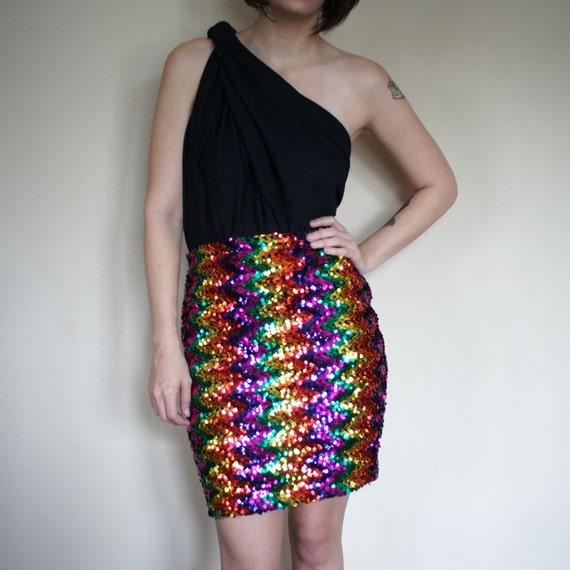 vintage SEQUIN dancing queen skirt (M-L)