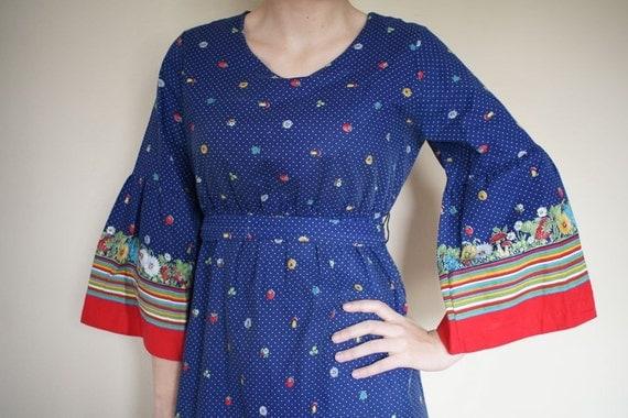 vintage 70s Maxi Boho Garden Cotton Dress (M)