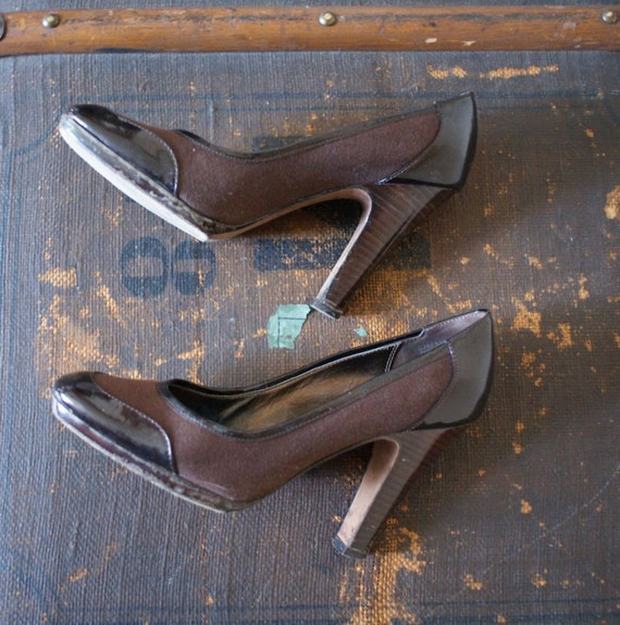 80s Vintage Joan and David Brown canvas patent leather 6 1/2 SALE
