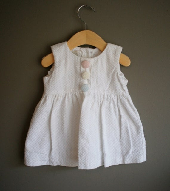 reserved for chrisd-vintage 80s white waffle cotton dress 12 month