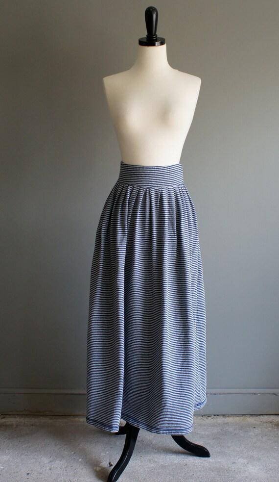 vintage 80s preppy grey blue stripe skirt (s)