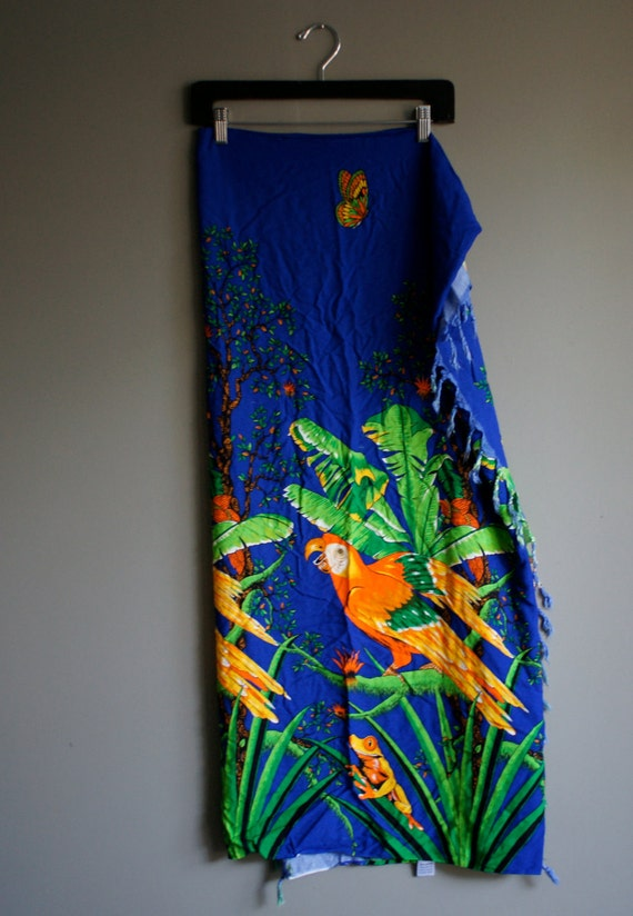 80s island parrot royal blue beach cover up wrap skirt/ dress