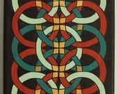 Interwoven - 5 x 7 framed original acrylic oriental style mandala painting