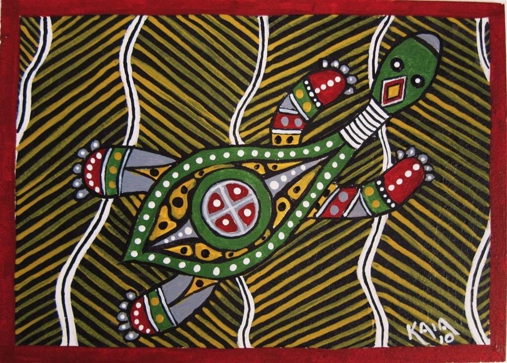 Aceo original acrylic turtle aboriginal art free by for X ray painting