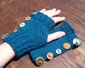 Fingerless Gloves Teal with Vintage Buttons