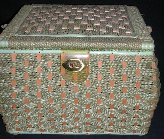 Large Vintage Green Sewing Basket with Swinging Handle Japan