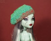 Monster High Crochet Hat - Mostly Green Slouchy Beret
