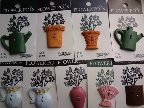 """Fun """"Flower Pots"""" Novelty Buttons - Set of 9 Buttons"""