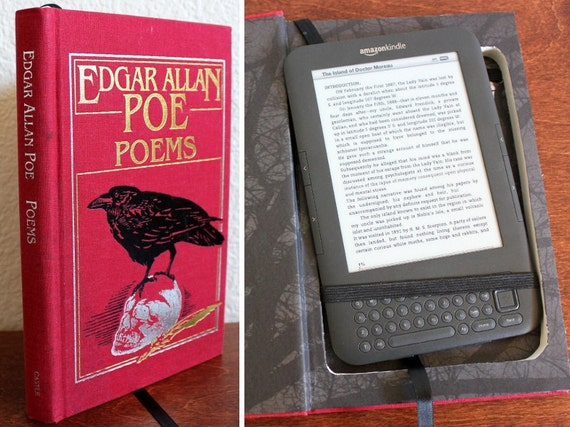 Kindle 3 Case, recycled hardcover book - Poems by Edgar Allan Poe